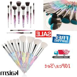 10Pcs Make Up Brushes Set Cosmetic Powder Foundation Crystal