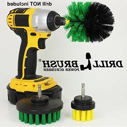 3 Rotary Power Scrub Brushes for Tile, Grout, Shower, Tub, S