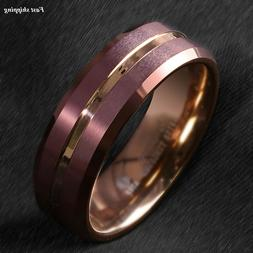 8/6mm Brushed Brown Tungsten Mens Ring Rose Gold Groove Stri