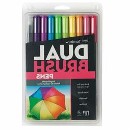 Tombow 56185 Dual Brush Pen Art Markers, Bright, 10-Pack. Bl