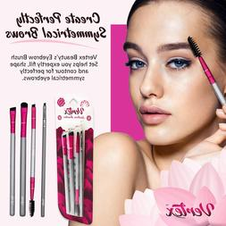 Eyebrow Brush Set ? Stiff Angled Brow Brushes and Firm Comb