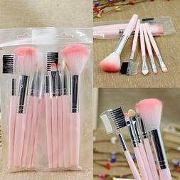 HOT 5pcs Pink Makeup Cosmetic Brushes Set Powder Foundation