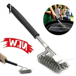 Long BBQ Grill Brush Cleaner Steel Bristle Barbecue Cleaning