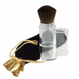 Retractable Fillable Loose Powder Brush, With Gold Trim Blac